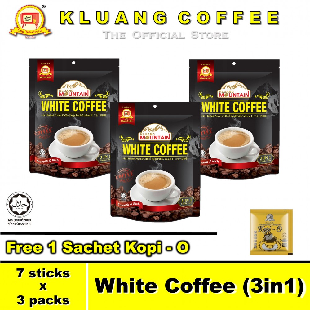 Kluang Mountain White Coffee (3in1)【7 sticks x 3 packs】CAP TELEVISYEN