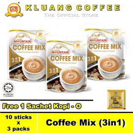 image of Kluang Mountain Coffee Mix (3in1)【10 sticks x 3 packs】CAP TELEVISYEN