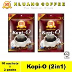 Kluang Black Coffee Kopi-O (2in1) with Sugar【10 sachets x 2 packs】CAP TELEVISYEN