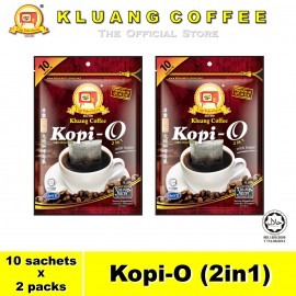 image of Kluang Black Coffee Kopi-O (2in1) with Sugar【10 sachets x 2 packs】CAP TELEVISYEN