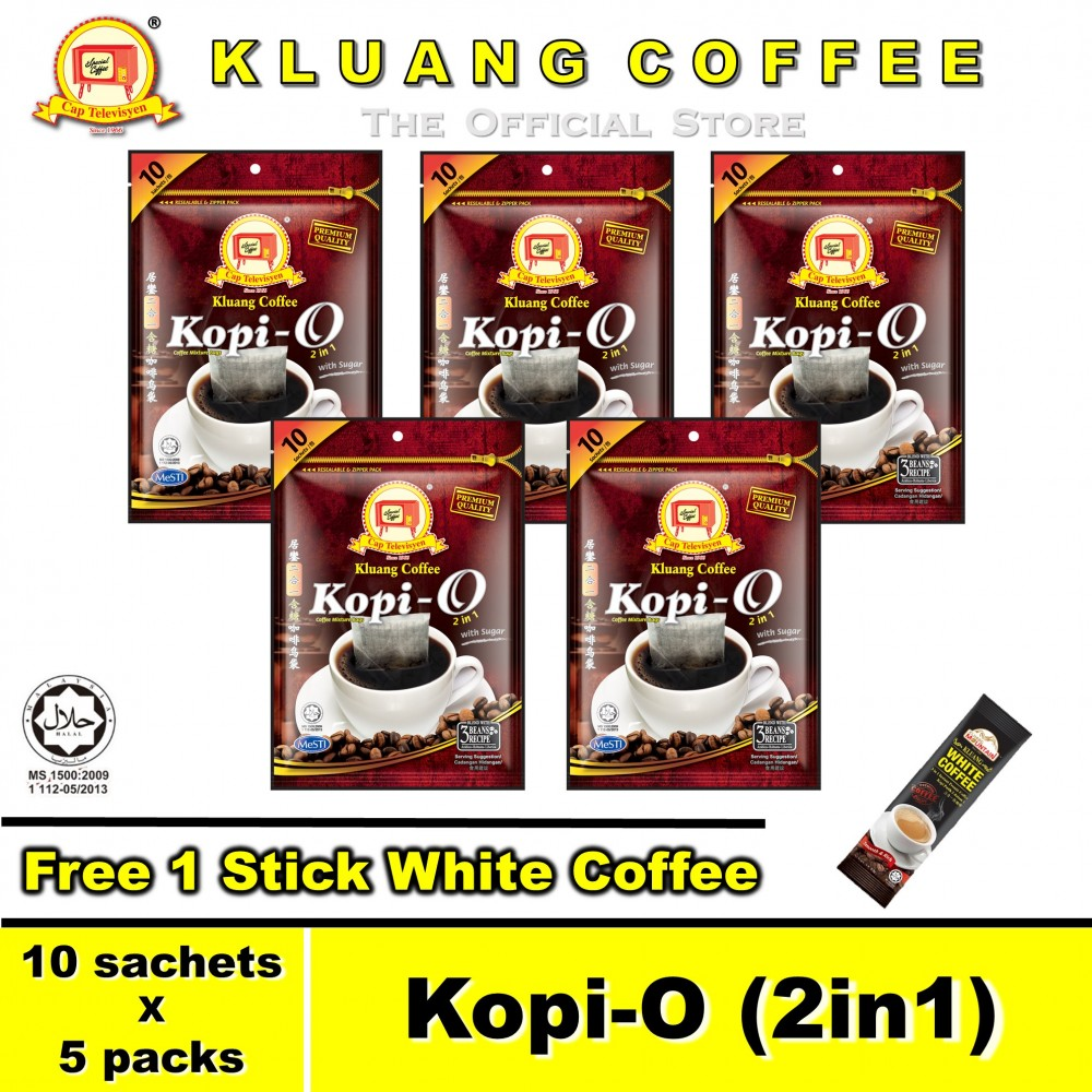Kluang Black Coffee Kopi-O (2in1) with Sugar【10 sachets x 5 packs】CAP TELEVISYEN