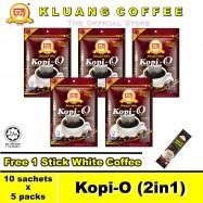 image of Kluang Black Coffee Kopi-O (2in1) with Sugar【10 sachets x 5 packs】CAP TELEVISYEN