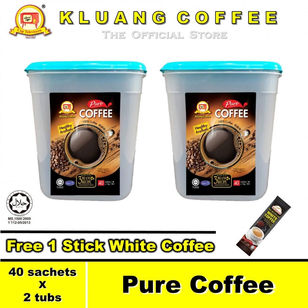 Kluang Pure Coffee 100% Coffee【40 sachets x 2 tubs】CAP TELEVISYEN