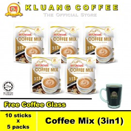 image of Kluang Mountain Coffee Mix (3in1)【10 sticks x 5 packs】CAP TELEVISYEN