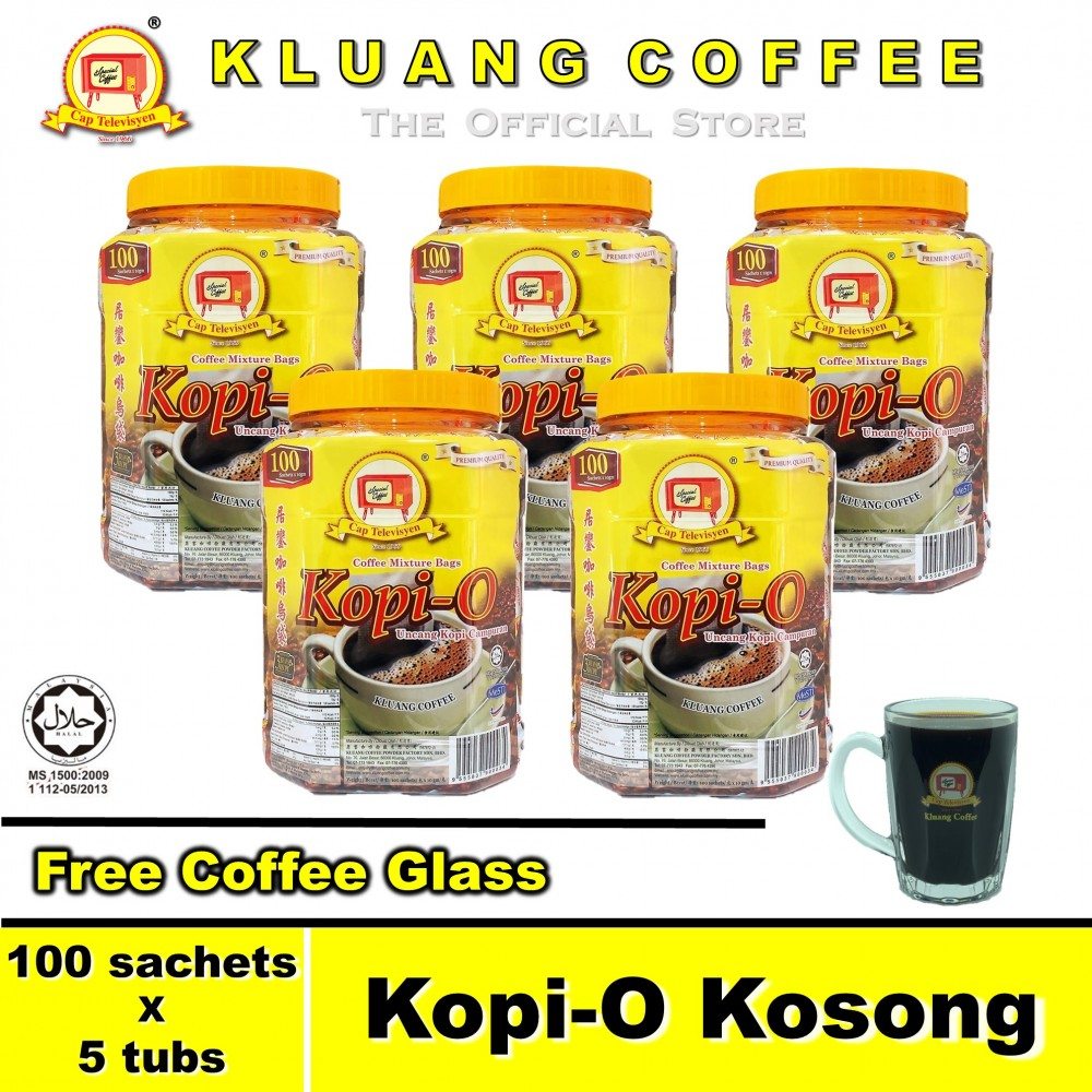Kluang Black Coffee Kopi-O【100 sachets x 5 tubs】CAP TELEVISYEN