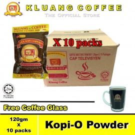 image of Kluang Black Coffee Kopi-O Powder 120gm【10 packs / carton】CAP TELEVISYEN