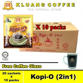 image of Kluang Black Coffee Kopi-O (2in1) with Sugar【10 packs / carton】CAP TELEVISYEN