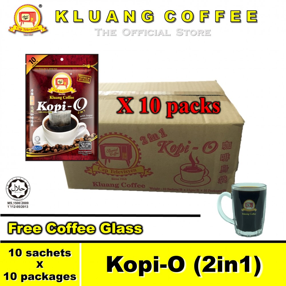 Kluang Black Coffee Kopi-O (2in1) with Sugar【10 packs / carton】CAP TELEVISYEN