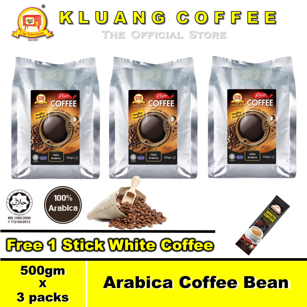 Kluang 100% Arabica Pure Coffee Bean【500gm x 3 packs】CAP TELEVISYEN