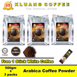 image of Kluang 100% Arabica Pure Coffee Powder【500gm x 3 packs】CAP TELEVISYEN