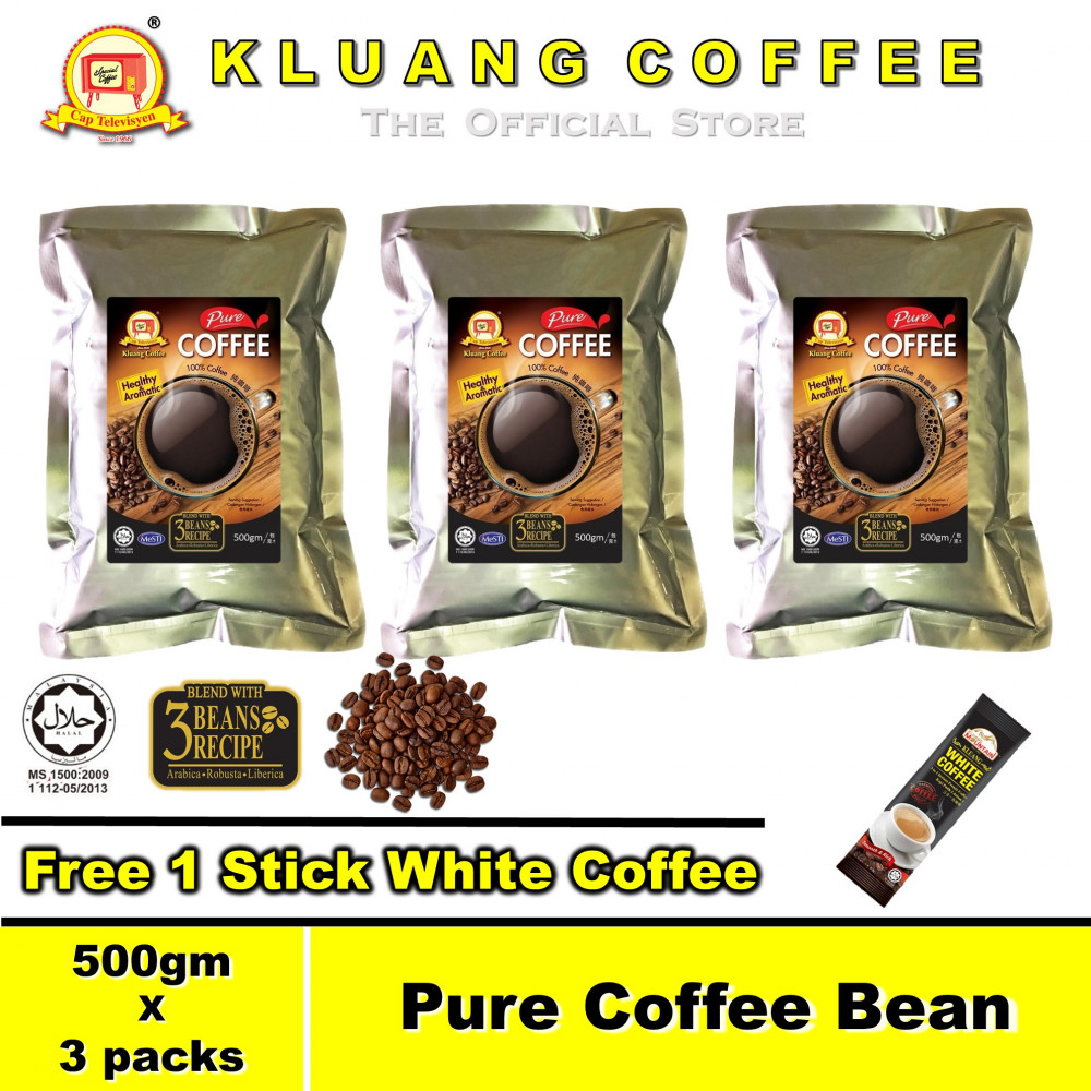 Kluang Pure Coffee Bean 100% Coffee【500gm x 3 packs】CAP TELEVISYEN