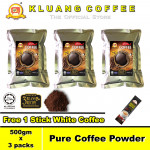 Kluang Pure Coffee Powder 100% Coffee【500gm x 3 packs】CAP TELEVISYEN