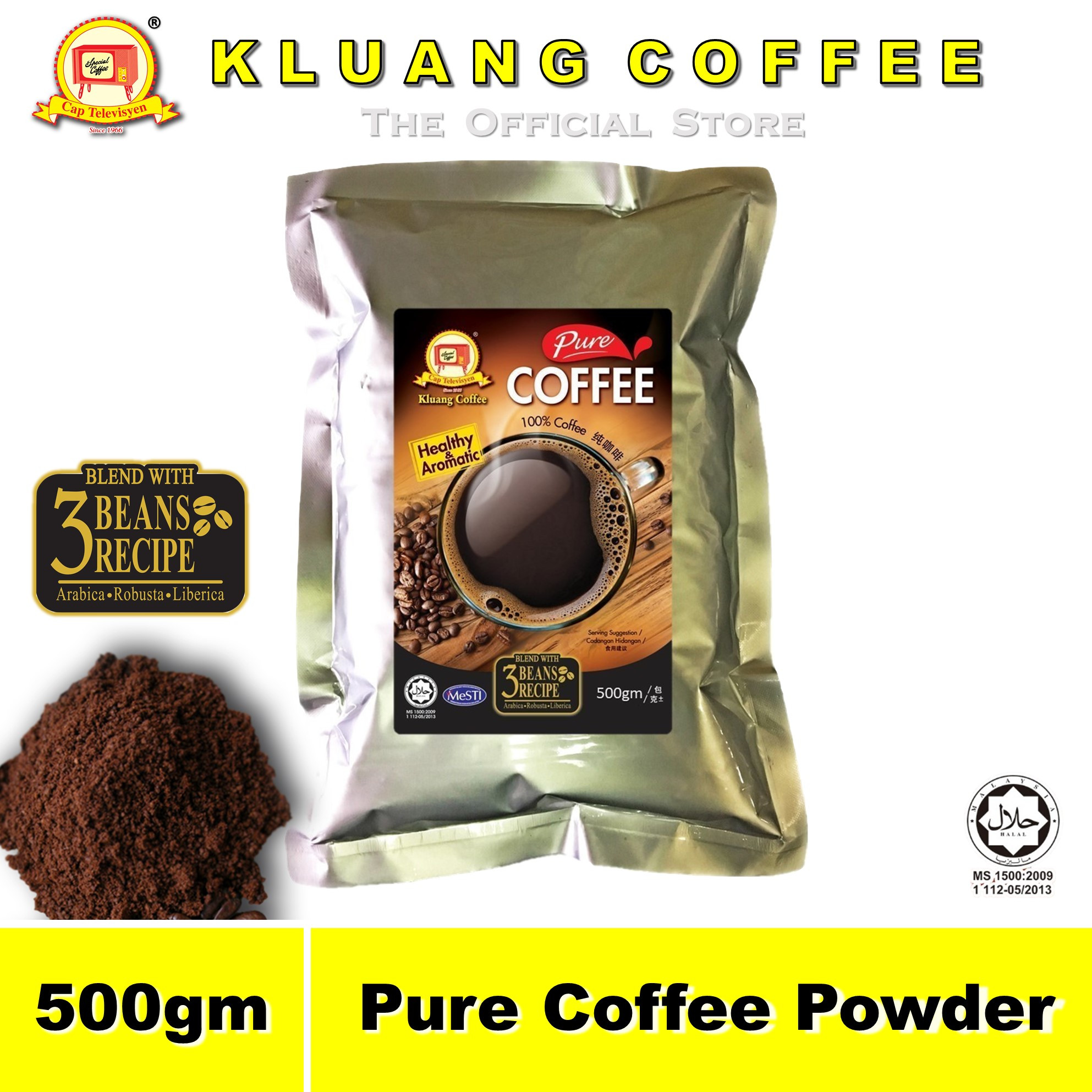 Kluang Pure Coffee Powder 100% Coffee【500gm】CAP TELEVISYEN