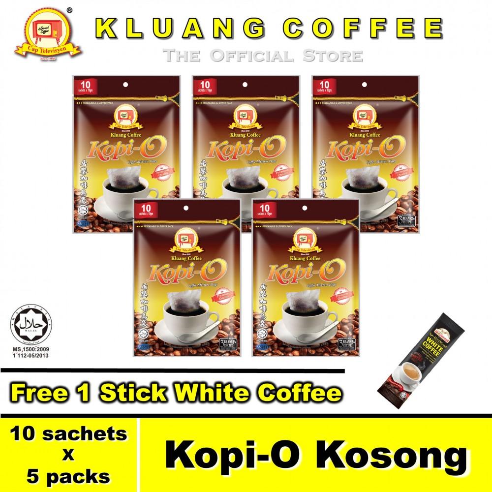 Kluang Black Coffee Kopi-O【10 sachets x 5 packs】CAP TELEVISYEN