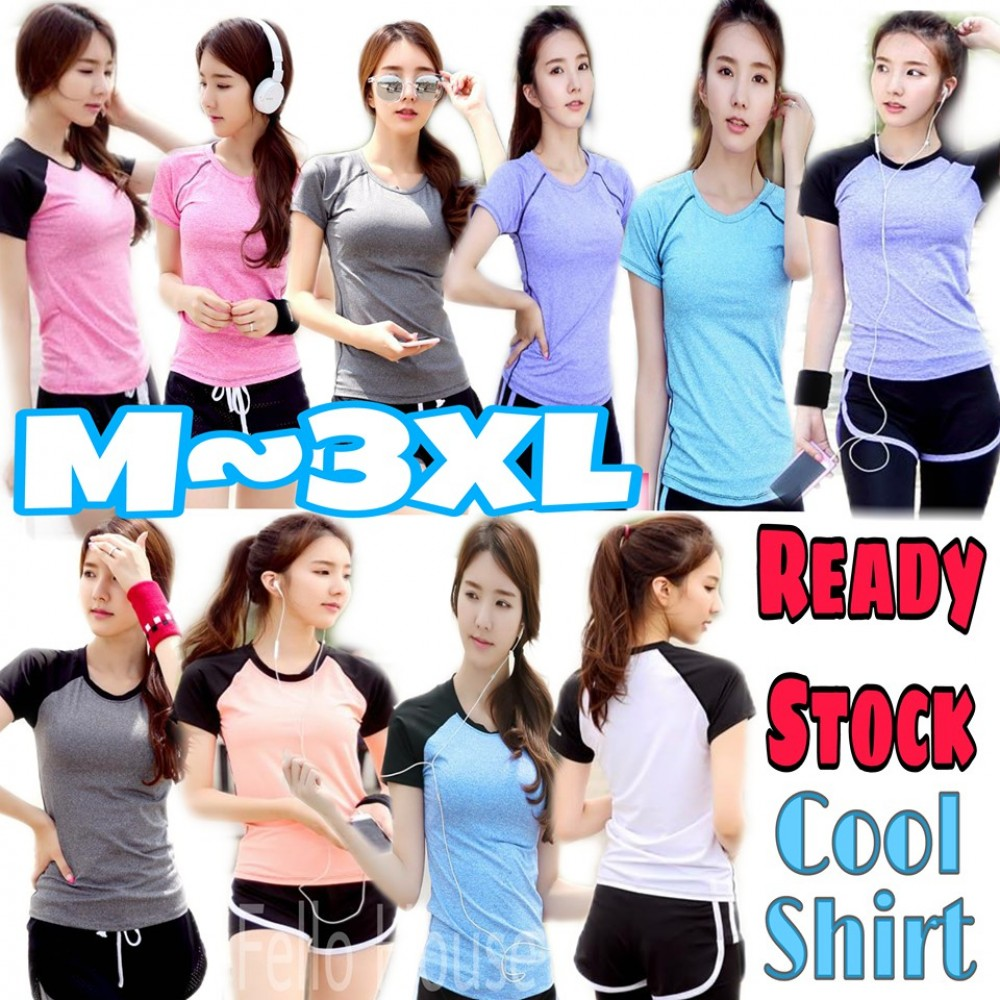 READY STOCK Women Fitness Gym Sport Breathable Tops Fast Dry T Shirt  (Shirt Only)