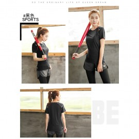 image of Women Fitness Gym T Shirt Running Sport Breathable Patchwork Tee Tops Fast Dry