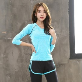 image of (Shirt Only) Women Fitness Gym T Shirt Running Sport Breathable Long Sleeve Tops