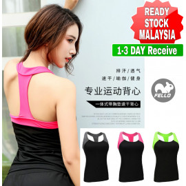 image of (READY STOCK) Women Lady Stretch Racer back Fitness Yoga Padded Yoga Gym Training Exercise Sports Bra Vest Tops