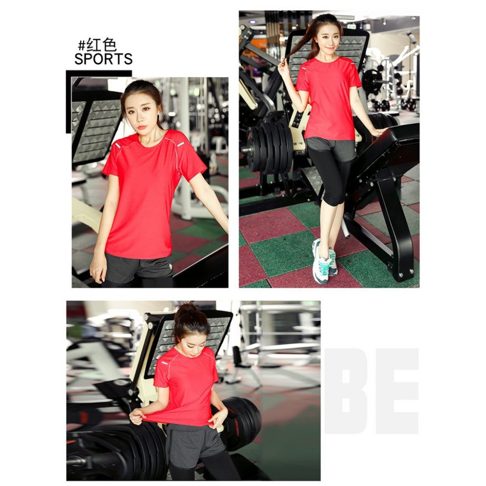 Women Fitness Gym T Shirt Running Sport Breathable Patchwork Tee Tops Fast Dry