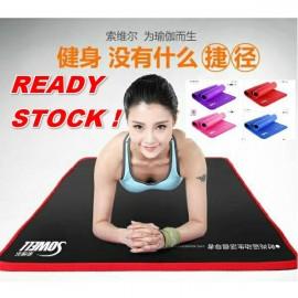 image of READY STOCK FREE GIFT Yoga Mat 61cm(W) Fitness Gym Exercise Plain Thin Anti Slip