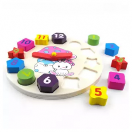 image of Kid Learning Toy - Digital Geometry Clock with Shape Sorting