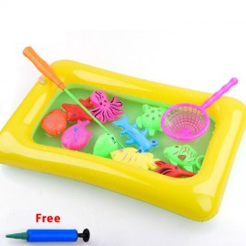 image of 12 pcs Magnetic Fishing Game + Small Pool