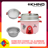 image of KHIND RICE COOKER 1.8L ALUMINIUM INNER POT WITH STEAM TRAY (RC918)
