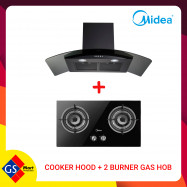 image of MIDEA COOKER HOOD + 2 BURNER GAS HOB