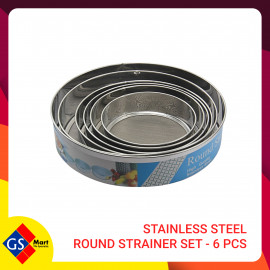 image of STAINLESS STEEL ROUND STRAINER SET - 6 PCS