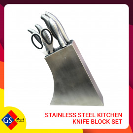 image of STAINLESS STEEL KITCHEN KNIFE BLOCK SET