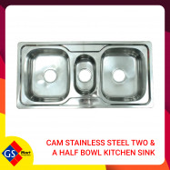 image of CAM Stainless Steel Two & a Half Bowl Kitchen Sink