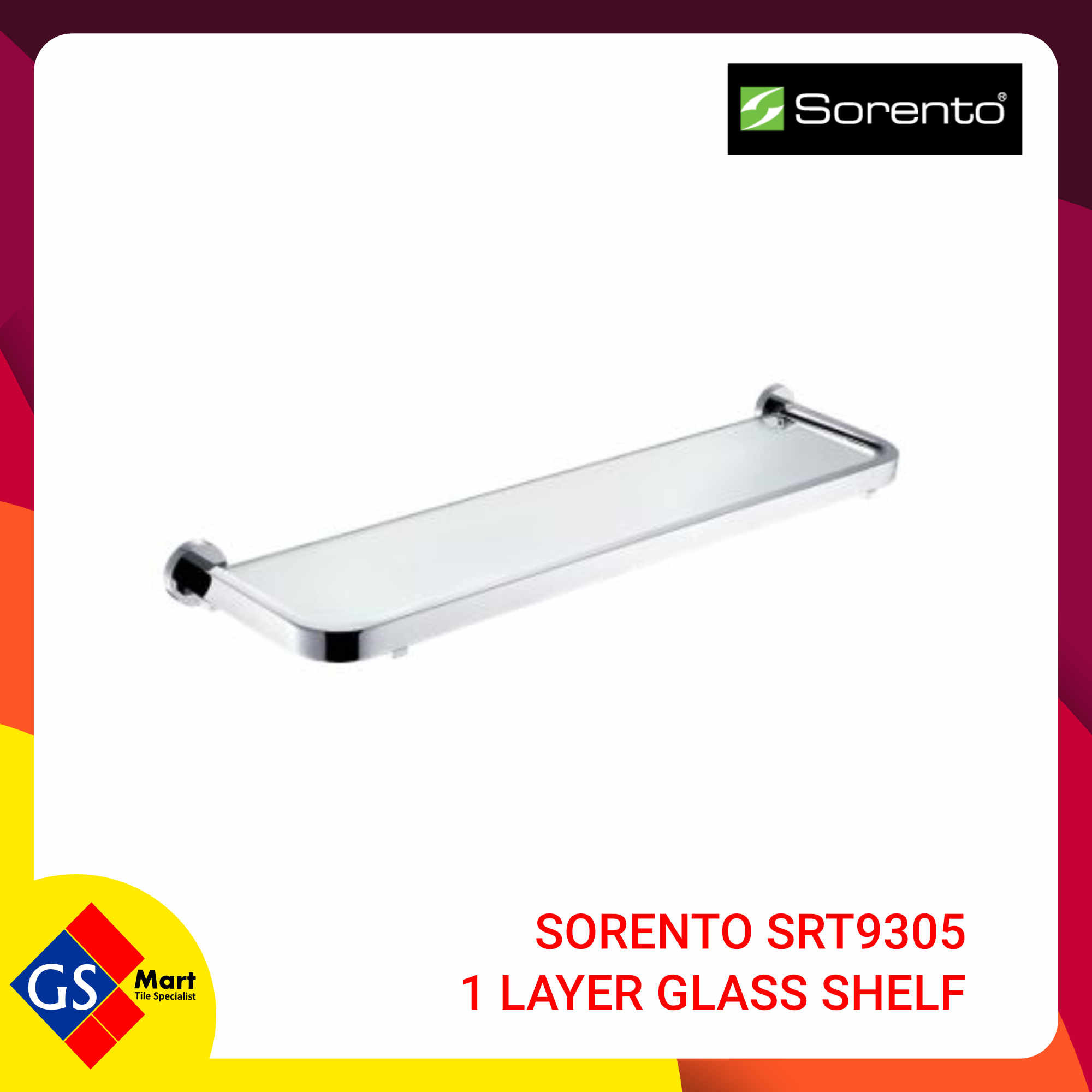 image of SORENTO SRT9305 1 LAYER GLASS SHELF