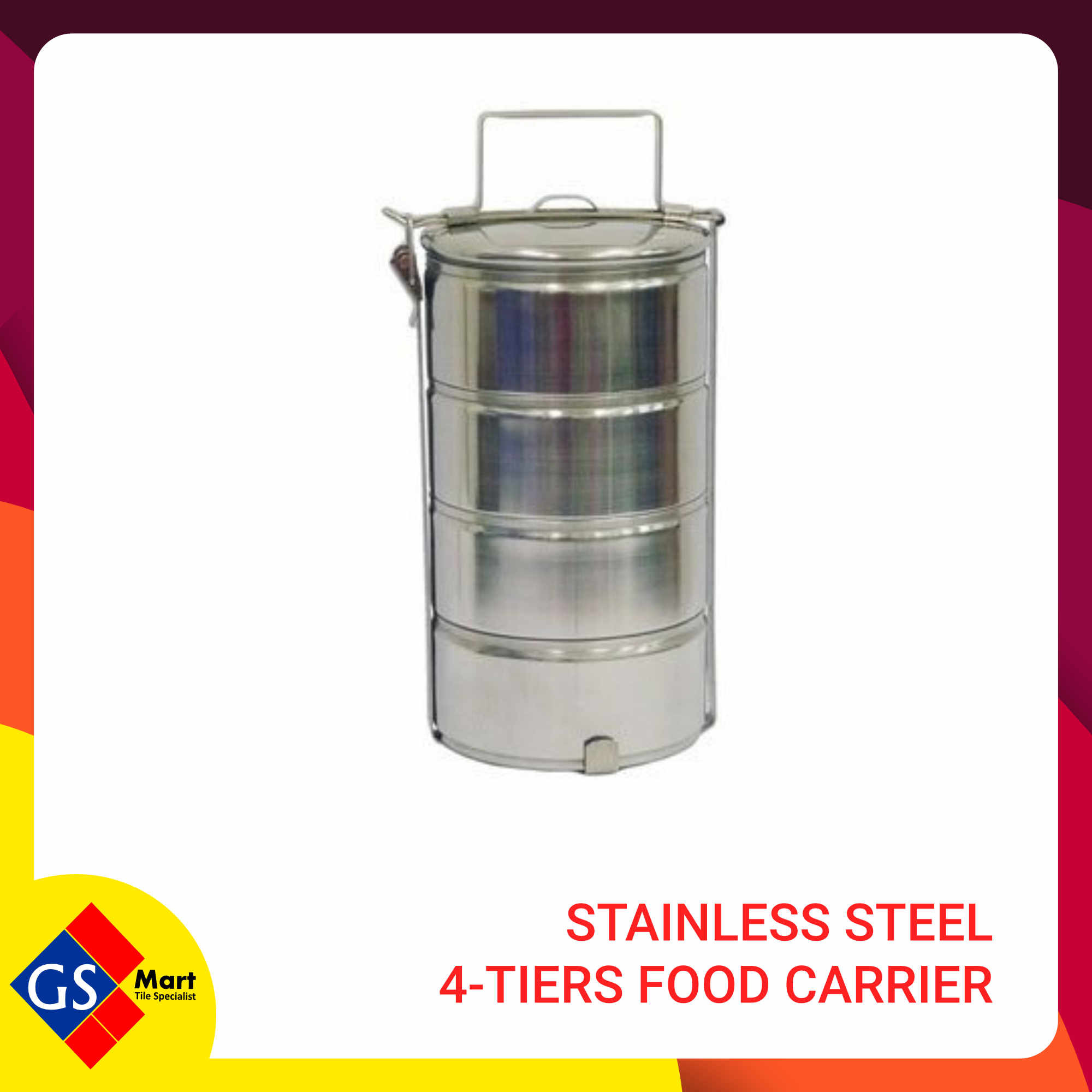 image of Stainless Steel  4-Tiers Food Carrier