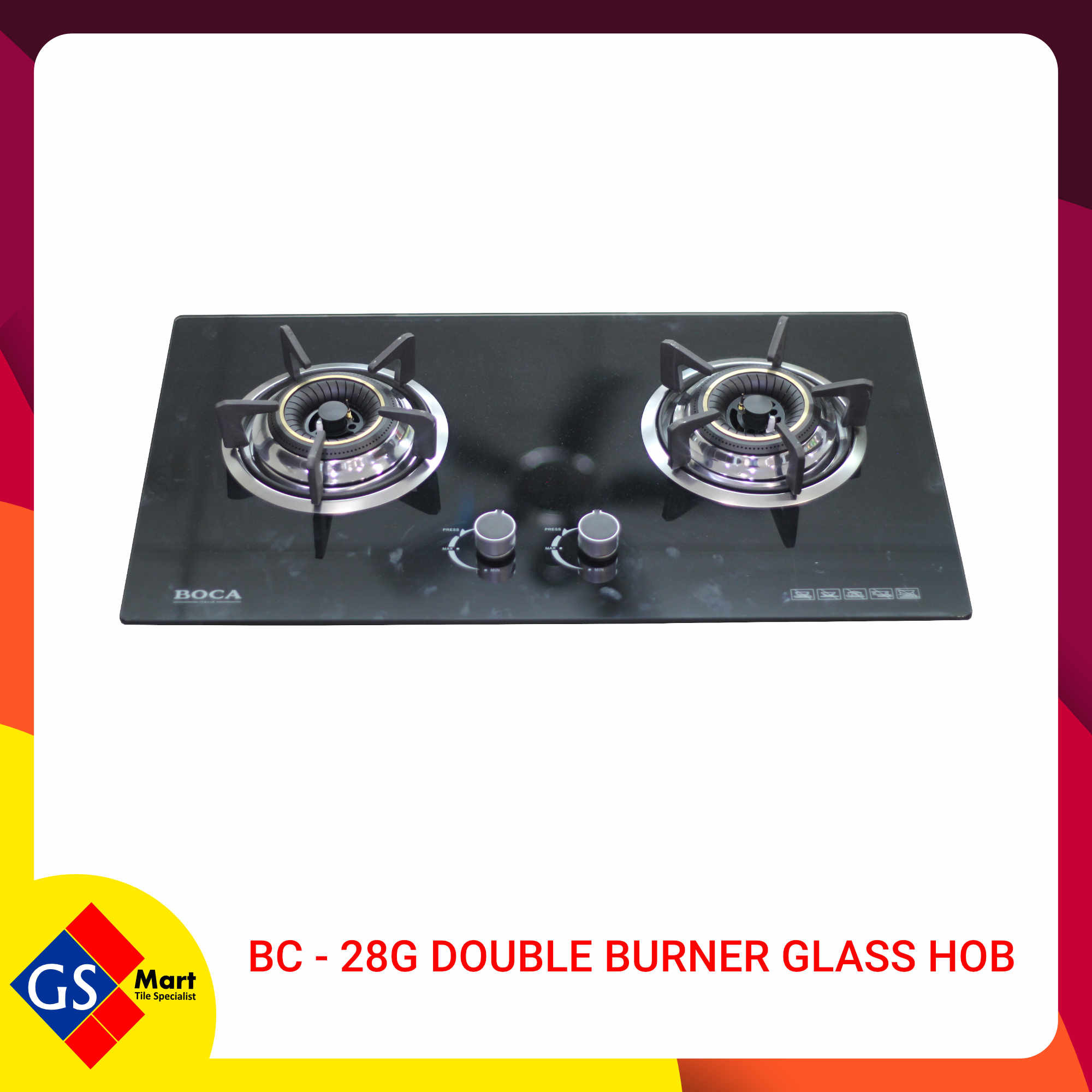 image of BC - 28G Double Burner Glass Hob