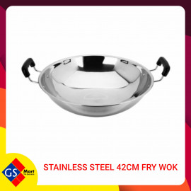 image of STAINLESS STEEL 42CM FRY WOK