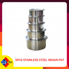 image of 5pcs STAINLESS STEEL INDIAN POT