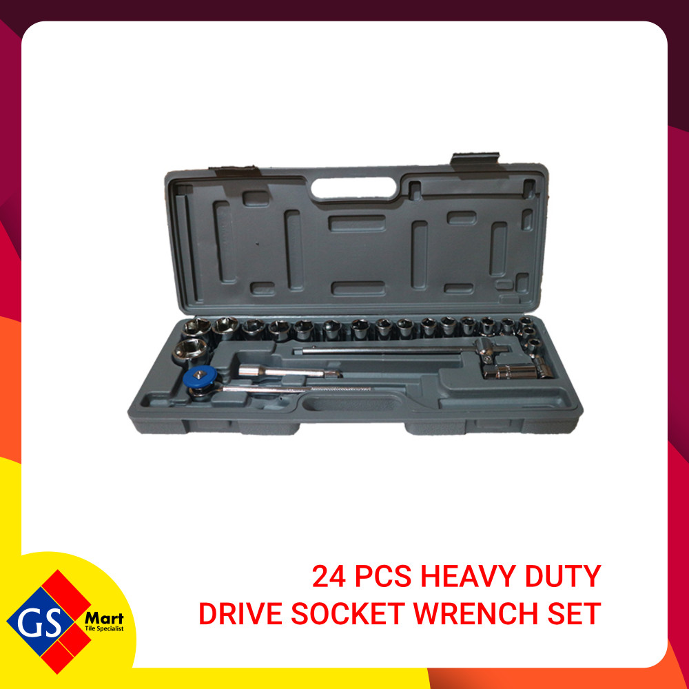 24 PCS HEAVY DUTY DRIVE SOCKET WRENCH SET