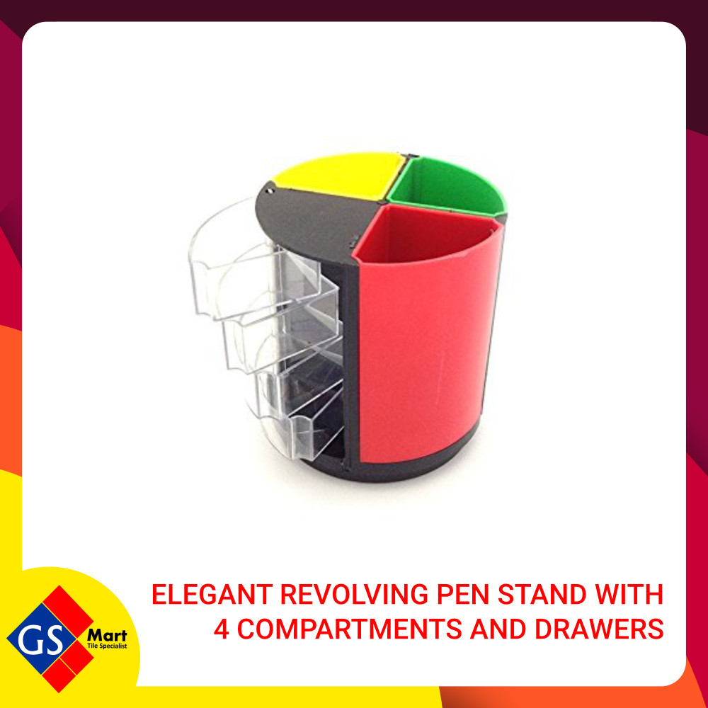 Elegant Revolving Pen Stand with 4 Compartments and Drawers