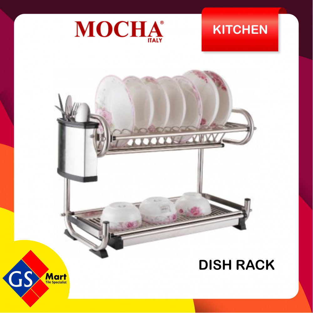 100% Stainless Steel Dish Rack with Spoon/Fork Holder