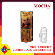 image of MOCHA MGC5002 CORNER GLASS CABINET SHELF