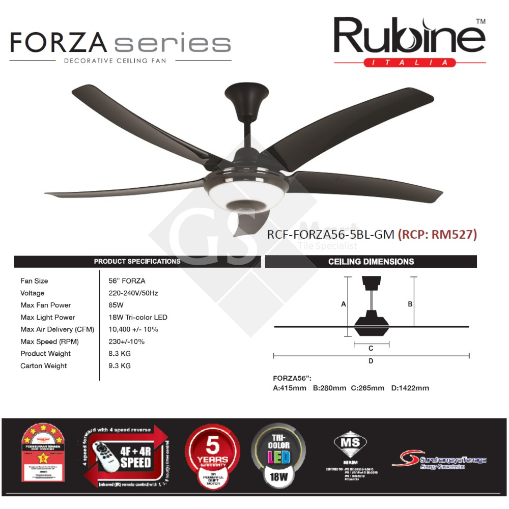 2018 New : Rubine Decorative Ceiling Fan FORZA Series RCF-FORZA56-5BL-GM
