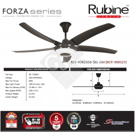 image of 2018 New : Rubine Decorative Ceiling Fan FORZA Series RCF-FORZA56-5BL-GM