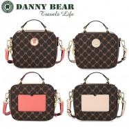 image of Danny Bear Travel Series Brown Plaid Small Sling Bag