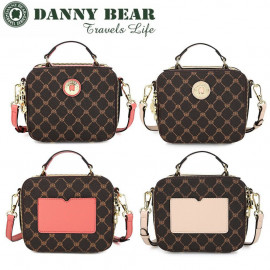 image of Danny Bear Travel Series Brown Plaid Small Sling Bag