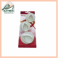 image of EzyMix 3Pcs Veined Rose Leaf Plunger Cutter (15-ZN530-1)