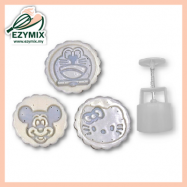 image of EzyMix 125gm 3pcs RD Mooncake Mould (18-125R/3K)