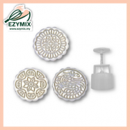 image of EzyMix 125gm 3pcs RD Mooncake Mould (18-125R/3M)