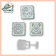 image of EzyMix 125gm 3pcs SQ Mooncake Mould (18-125SQ/3B)