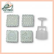 image of EzyMix 75gm 4pcs SQ Mooncake Mould (18-75SQ/4A)