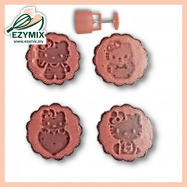 image of EzyMix 63gm 4pcs RD Mooncake Mould (18-63R/4H)